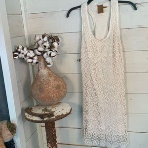 ALI RO Ivory Lace Racerback Lined Dress Spring